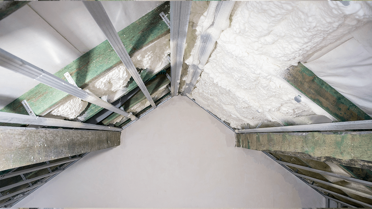 Attic thermal insulation with open-cell polyurethane foam